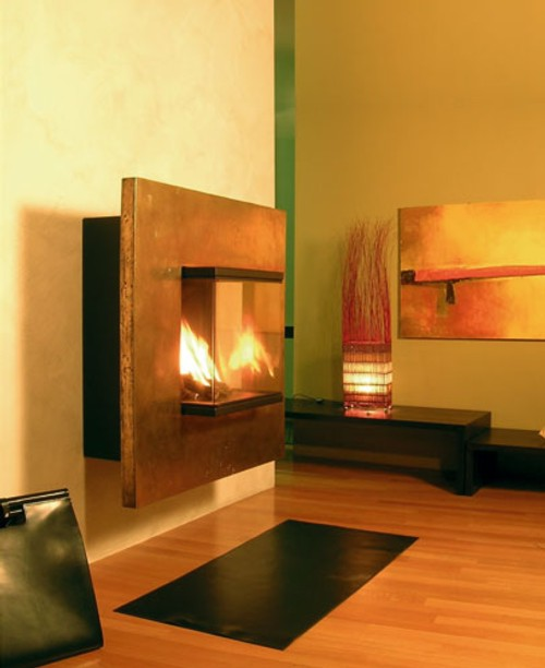 modernas chimeneas pared origami Modernas Chimeneas de Pared